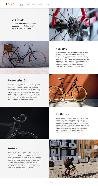 Serviços - A Bicicleta - Site Modelo - OMeuSite-PT