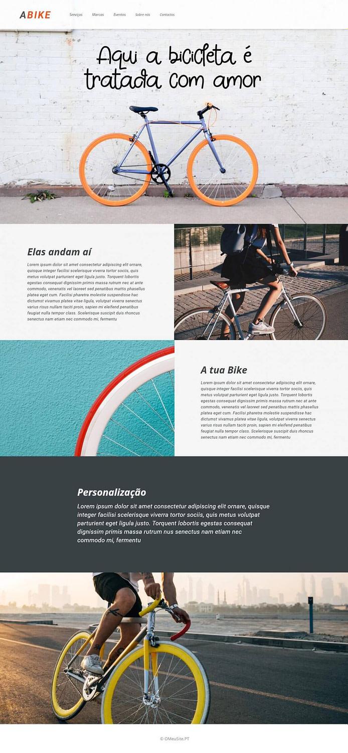Homepage - A Bicicleta - Site Modelo - OMeuSite-PT